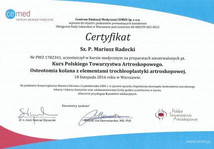 Certyfikat nr 18